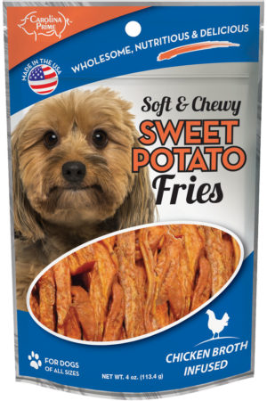 Front of Carolina Prime Pet Chicken Broth Infused Sweet Potato Fries dog treats 4 oz package.