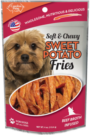 Front of Carolina Prime Pet Beef Broth Infused Sweet Potato Fries dog treats package.
