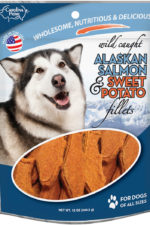 Front of Carolina Prime Pet Salmon and Sweet Potato Fillets dog treats package.