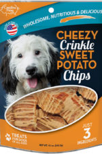 Front of Carolina Prime Pet Cheezy Crinkle Sweet Potato Chips dog treats package.